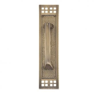 Brass Accents A05-P5351 Arts and Crafts Push Plate with Mission Pull