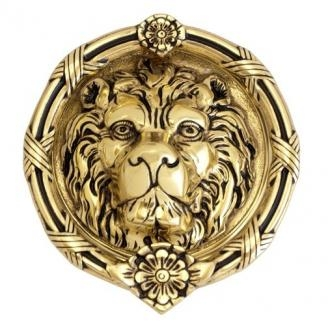 Brass Accents A07-K5100 Leo Lion Knocker Highlighted Brass (610)