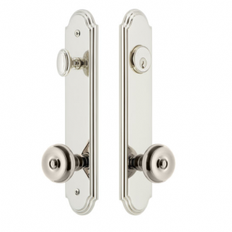 Grandeur Arc Tall Plate Entrance Set with Choice of Knob or Lever Polished nickel