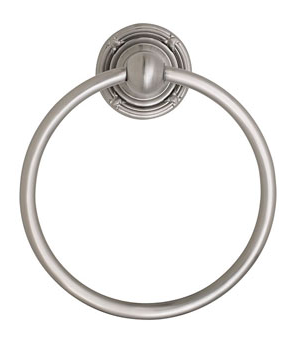 Emtek 2601 Brass Towel Ring with Ribbon and Reed Rose Satin Nickel (US15)