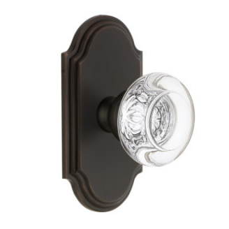 Grandeur Bordeaux Crystal Door Knob Set with Arc Short Plate Timeless Bronze