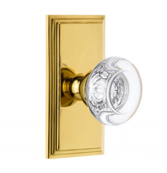 Grandeur Bordeaux Crystal Door Knob Set with Carre Short Plate Polished Brass