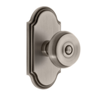 Grandeur Bouton Door Knob Set with Arc Rose in Antique Pewter