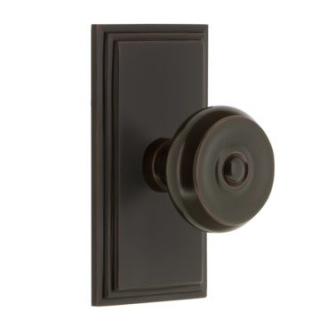 Grandeur Bouton Door Knob Set with Carre Rose in Timeless Bronze