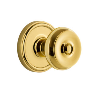 Grandeur Bouton Door Knob with Georgetown Rose polished brass