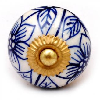 PotteryVille White Ceramic Cabinet Knob with Blue Flowers
