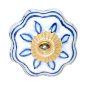 PotteryVille White Ceramic Knob with Blue Floral Design