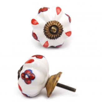PotteryVille White Ceramic Cabinet Knob with Red Flowers