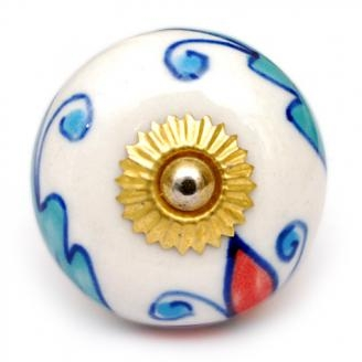 PotteryVille Red, Turquoise and Blue Floral Design on a White Ceramic Knob
