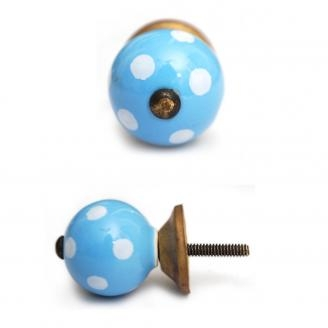 PotteryVille Blue Cabinet Knob with White Polka-Dots