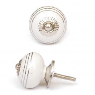PotteryVille Silver Stripes on a White Ceramic Cabinet Knob