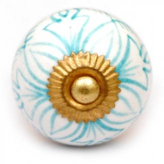 PotteryVille Turquoise Geometric Design on a White Cabinet Knob