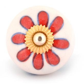 PotteryVille Red Flower on a White Cabinet Knob