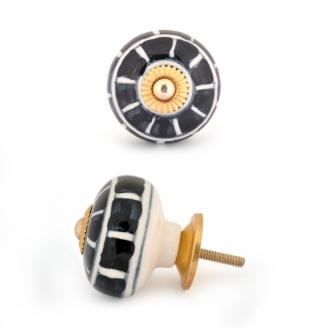 PotteryVille White and Black Cabinet knob