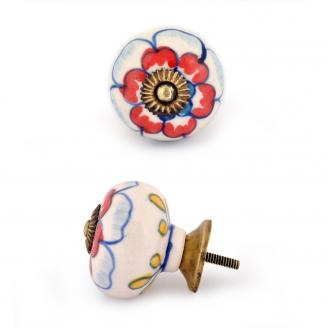 PotteryVille Red Flower and Blue out line with White base Cabinet knob