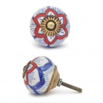 PotteryVille Red and Blue design with white base ceramic Cabinet knob