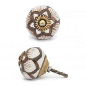 Potteryville Brown design with white base ceramic knob