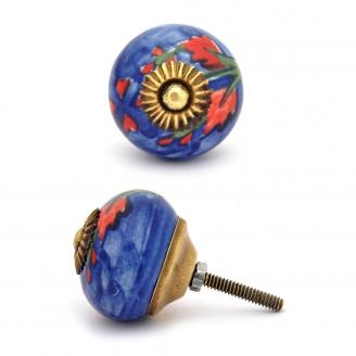 PotteryVille Red and Green leaf with Blue base ceramic Cabinet knob