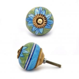 PotteryVille Turquoise flower with Green base ceramic Cabinet knob