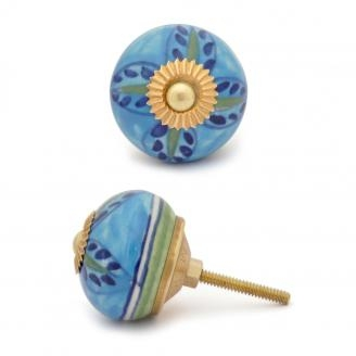 Potteryville Green,Blue flower with Turquoise base ceramic knob
