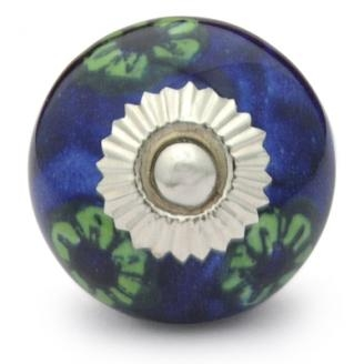 Potteryville Green Flowerd and Green leaf with Blue Base knob