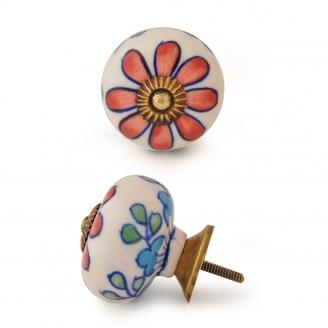 PotteryVille Red Flower, Green and Turquoise leaf with White Base Ceramic knob