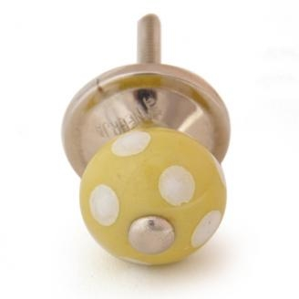 PotteryVille Yellow with White Polka-Dots