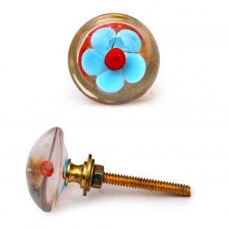 PotteryVille Sky Blue Flower with Red Center Glass Knob