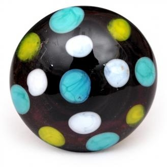 PotteryVille White, Yellow and Sky Blue Polka Dotted Glass Knobs