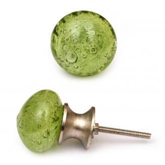 PotteryVille Green Glass Round Knob with Air Bubbles