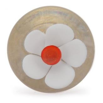 PotteryVille White Flower with Red Center Glass Knob