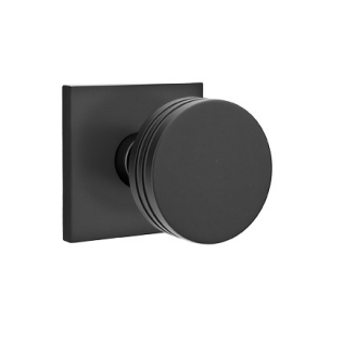 Emtek Bern Door Knob Set with Square Stepped Flat Black (US19)