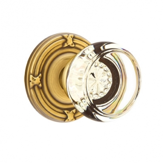 Emtek Georgetown Door Knob with Ribbon and Reed Rose French Antique (US7)