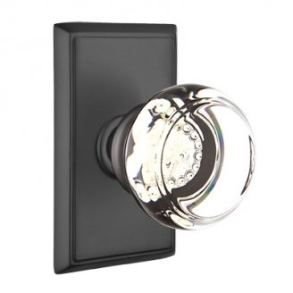 Emtek Georgetown Door Knob with Rectangular Rose Flat Black (US19)