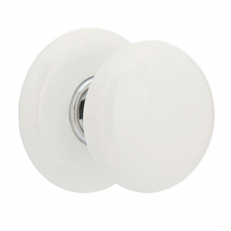 Emtek Ice White Door Knob Set with Porcelain Rosette in Polished Chrome (US26)