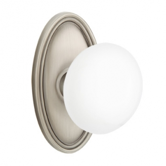 Emtek Ice White Door Knob Set with Oval Rose Pewter (US15A)