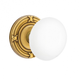 Emtek Ice White Door Knob Set with Ribbon and Reed French Antique (US7)