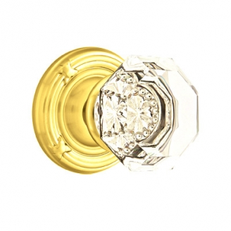 Emtek Old Town Clear knob with Ribbon and Reed Rose Polished Brass (US3)