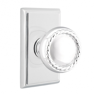 Emtek Rope Door knob with Rectangular Rose Polished Chrome (US26)