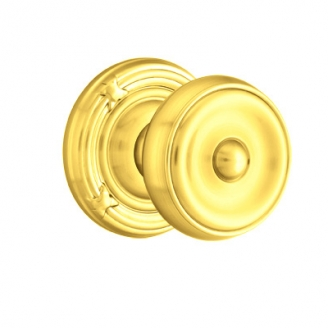 Emtek Waverly Door Knob with Ribbon and Reed Rose Polished Brass (US3)