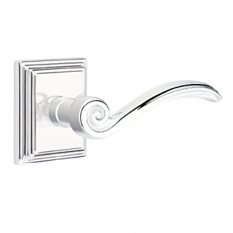 Emtek Elan Door lever with Wilshire Rose Polished Chrome (US26)