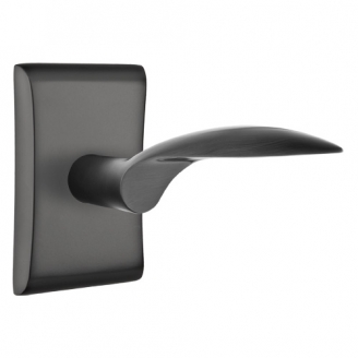 Emtek Mercury Door Lever Set with Neos Rose Flat Black (US19)