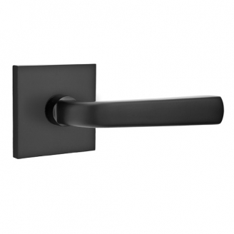 Emtek Sion Door Lever Set with Square Rose Flat Black (US19)