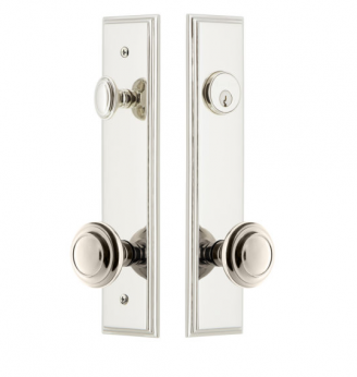 Grandeur Carre Tall Plate Entrance Set with Choice of Knob or Lever Polished Nickel
