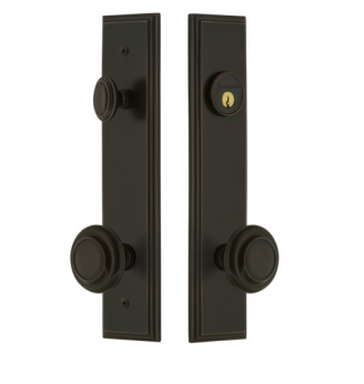 Grandeur Carre Tall Plate Entrance Set with Choice of Knob or Lever timeless bronze
