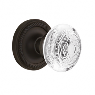 Nostalgic Warehouse Crystal Egg and Dart Knob Set with Rope Rose Oil Rubbed Bronze
