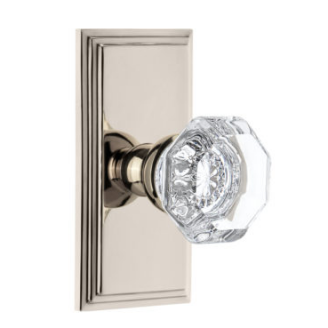 Grandeur Chambord Door Knob Setwith Carre Short Plate Polished Brass
