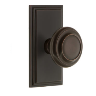 Grandeur Circulaire Door Knob Set with Carre Short Plate Timeless Bronze
