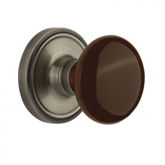Nostalgic Warehouse Brown Porcelain Knob Privacy Mortise Lock Classic Rose AP