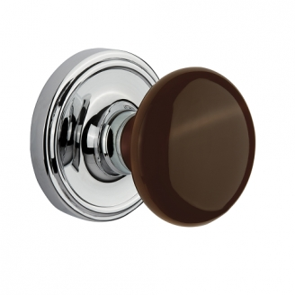Nostalgic Warehouse Brown Porcelain Knob with Classic Rose Bright Chrome